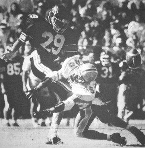 Dave Olbrantz blocks a punt against rival NT.