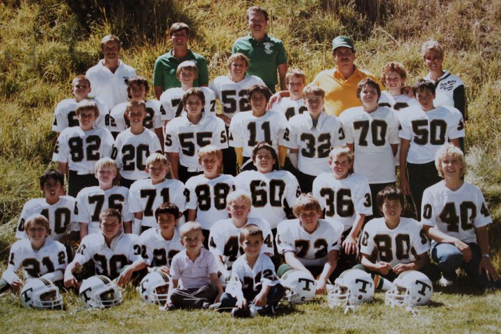 1984 PeeWee Pioneers. Mike Massari in the Yellow coaching Shirt. Notable players that were on the 89 team: #32 Matt Estabrook, #42 Dustin Pugh on the right side of Mike Massari, #11 Jose Cruz, #50 Sean O'Shea, #70 Jeremy Elliot-Sill, #62 Arnaldo Lopez, #88 Me