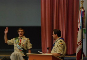 Retzlaff giving his Oath at the Eagle Scout Ceremony