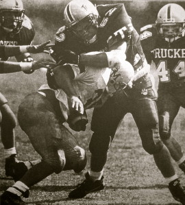 Brian Stewart swallows up a Miner running back for a big stand.