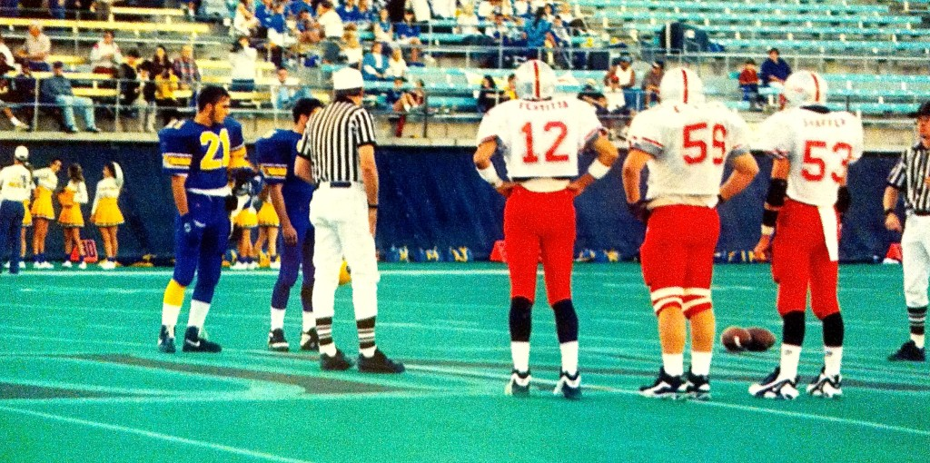 Captains Nik Fertitta, Eric Wicks & Bob Shaffer Jr. prepare for the coin toss in Las Vegas.