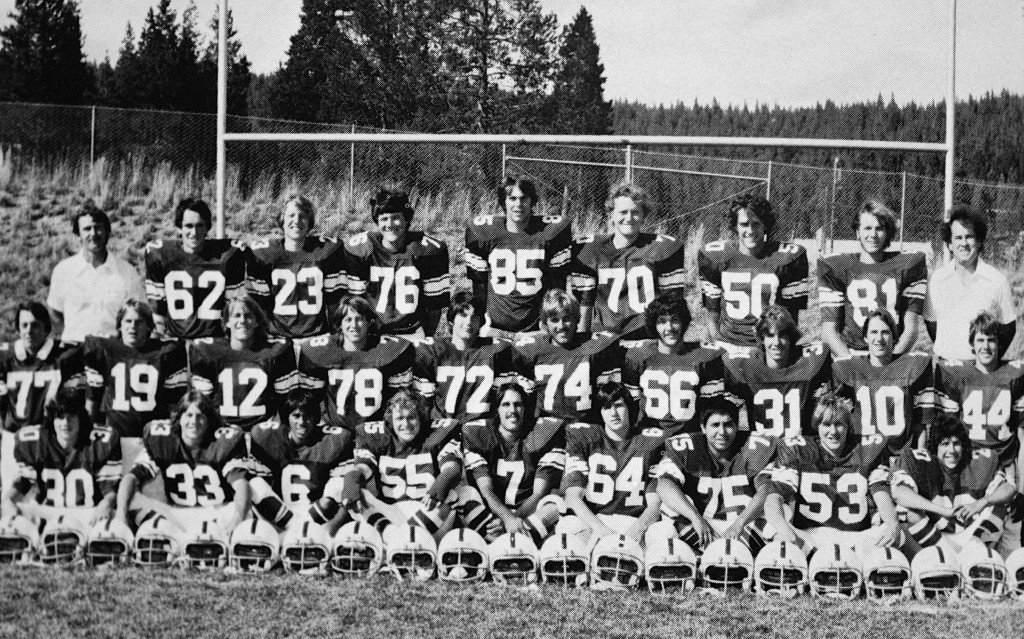 Front Row: Tom Jones, Greg Graham, Robert Smith, Bill Williams, John Raber, Scott Reid, Carlos Avila, Scott Boyce, Bill Waters. Second Row: Tom Hanns, Greg Zirbel, Bobby Gebhardt, Ron Brown, Robert Haswell, Jeff McCollum, Ron Chance, Rodney Wells, Martin Davy, Greg Harris. Back Row: Coach Brolliar, Mike Rogers, Jeff Kenny, Shawn Cowels, Chase Gower, Dan Cummings, Bruce Estabrook, Shawn Hassell, Coach Barrett