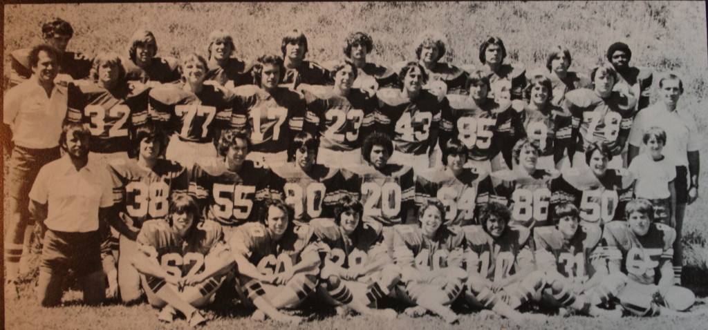 Front Row: Larry Eichele, Mike Hall, Russ Haswell, Russ Brown, Troy Guzman, Mike Metcalfe, Brad Illes. Second Row: Coach Brolliar, Paul Heron, Richard Brewer, Donald Smith, Robert Smith, Scott Reid, Mike Graham, Brian Arney, Matt Curtis. Third Row: Coach Barrett, Bob McPherson, Justin Jensen, Jerry Sassarini, Ron Wunn, David Glenn, Mike Delaney, Rich Redding, Jeff Robinson, Coach Curtis. Back Row: Bruce Estabrook, Rodney Wells, Bob Gebhardt, Greg Sharpes, Mark Mullins, Roger Boren, Dennis Bright, Mark English, Brian Conston.