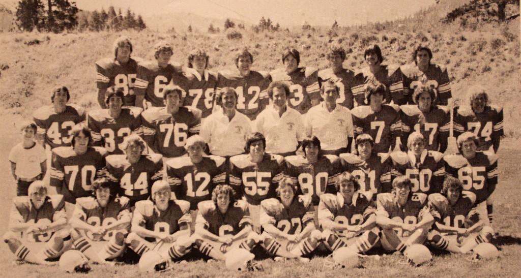Front Row: Darren Rudicel, Russ Haswell, Jerry Bellon, David Ariz, Russ Brown, Kym Milisci, Larry Eichele, Troy Guzman; Second Row: Jaime Curtis, Jerry Krug, Ted Raber, Tom Hall, Paul Heron, Donald Smith, Mike Metcalfe, Todd Whalley, Brad Illes; Third Row: David Glenn, Mike Whan, Mike Delaney, Coach Brolliar, Coach Barrett, Coach Curtis, Jerry Sassarini, Rex Bergsma; Back Row: Richard Copeland, Tony Evans, Mike Graham, Rob Buccieri, Brian Arney, Mark Mullins, Scott Purvis, Dennis Bright