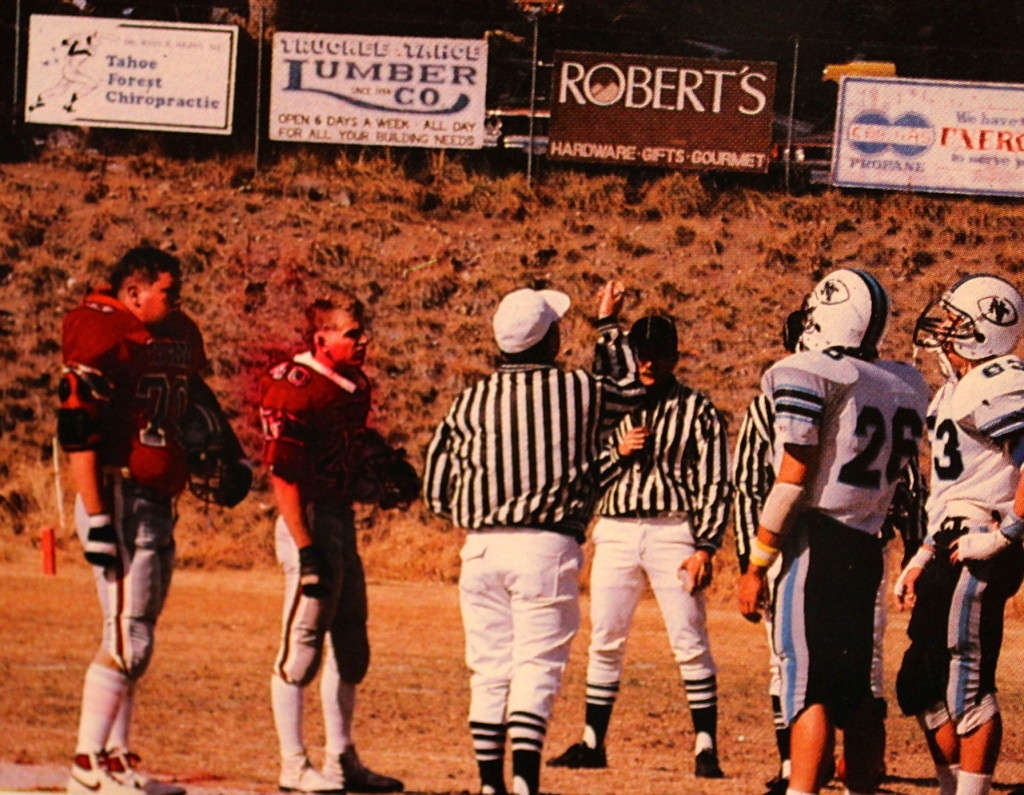 "(70) Keith (Beef) Williams and (40) Ron Collins represent Truckee at the coin to in the ""Biggest Little Football Game"" vs rival Norh Tahoe"