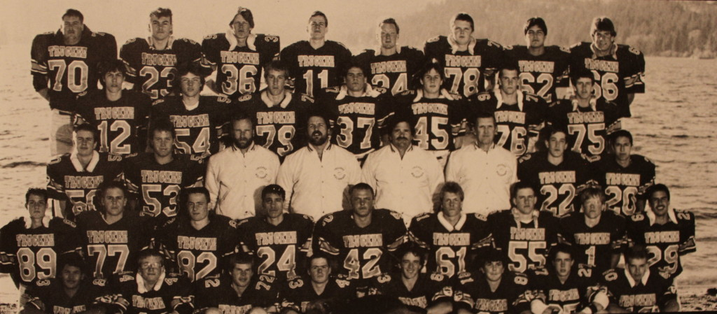 Front Row: Mike Cano, Darren Bayer, Will Gullding, Alan Cooper, John Moniz, Dan McCurry, Greg Pohler, Ron Collins; Second Row: Billy Powell, Steve Holmquest, Wade Posten, Chuck Smith, Gary Lawson, Aaron Schwier, Kevin McKechnie, Pat McKechnie, Aaron Wallace; Row Three: Robert Tilton, Tom Gay, Coach McKillop, Coach Ames, Coach Deschler, Coach Curtis, Matt Curtis, Don Lorenzetti; Row four: Dennis Pugh, Shawn Tacket, Travis Kissinger, Alex Holtz, Mike Donchez, Brian Hadley, Butch Higginbothim; Back Row: Keith Williams, Corey Ray, Jim Duncan, Rick Holmes, Mike Cooper, Scott Pomin, Albert Salas, Greg Schaaf