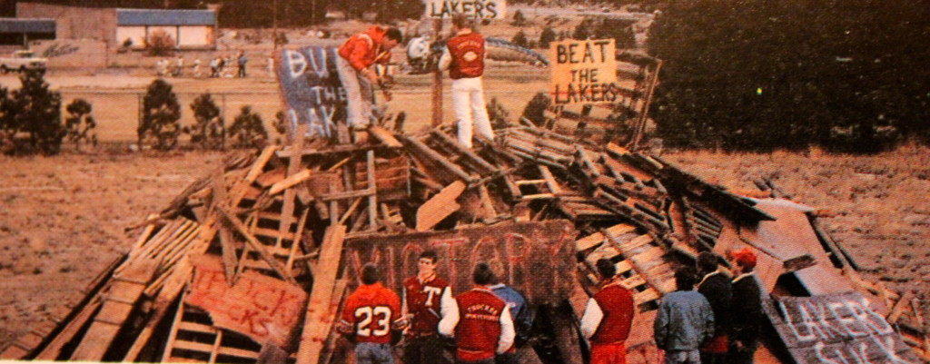 The Collins brothers put the finishing touches on the 1986 Bonfire