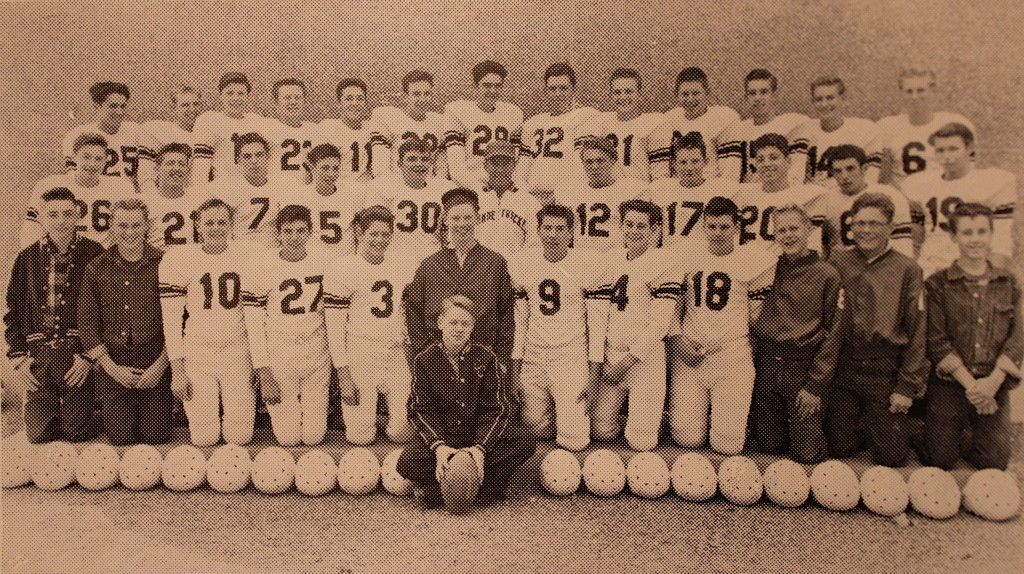 Front Row: Team manager Ken Vaughn, Jim Crawford, Wesley Ball, Chester Petrocchi, Tom Sheehan, Team Manager Pat Griffith, Carroll Ballard, Jim Vahey, Frank Giovannoni, Team Manager Kit Schull, Manager Jay Mandeville, Manager Jim Allen, Front and center Gene Germain; Middle Row: Doug Wilson, Dave Germain, Erwin Single, Mike Soltau, Charles Aydelotte, Coach Brehler, Roger Holbrook, Bill Wright, Wayne Germain, Bob Sanford, Gary Brumbaugh; Back Row: Jay Stuart, Hugh Van Hooser, Ken Lavery, Dick Mandeville, Jerry Quam, Bill McClain, Clyde Mandeville, Tom Dolley, Joe Copeland, Lewis Fellows, Bill Pert, Jack Van Hooser, Bill Barr