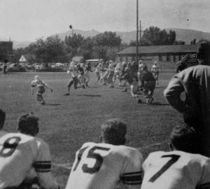Truckee played its home games at Sparks and Loyalton the first two seasons. If you have been to Sparks High School then you can tell that this picture was taken at Sparks. You can see the corner of the school in the upper left corner and Mount Rose off in the distance.