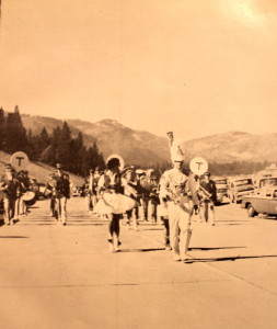 Truckee's Band marches down I-80 in an opening ceremony for the new Freeway. The picture is taken just north of the Gateway neighborhood