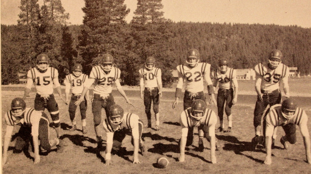 "Truckee's D was nicknamed the ""Red Raiders"" Number 20 is Doug Baxter who was the first football player inducted into the Hall of Fame at the Evening of Excellence award night."