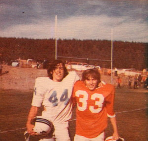 (33) Emitt Tracy and old teammate pose for a photo after the first Rivalry game vs the North Tahoe Lakers. It started off friendly.