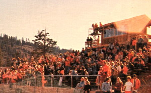 The newly constructed Press Box and Stadium. With the exception of the 1970's style the stands look pretty much the same on Saturdays today. Filled with the Wolverine Faithful dressed in RED!