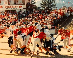 (19) Ivens with the tackle on White Pine's (3) Kirk Thornock in front of a packed Surprise Stadium
