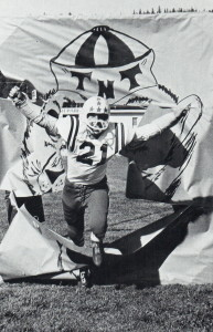 (21) Curt Wirst Breaks through the sign under the goalpost. Wirst was a team leader and one of the better players on the team.