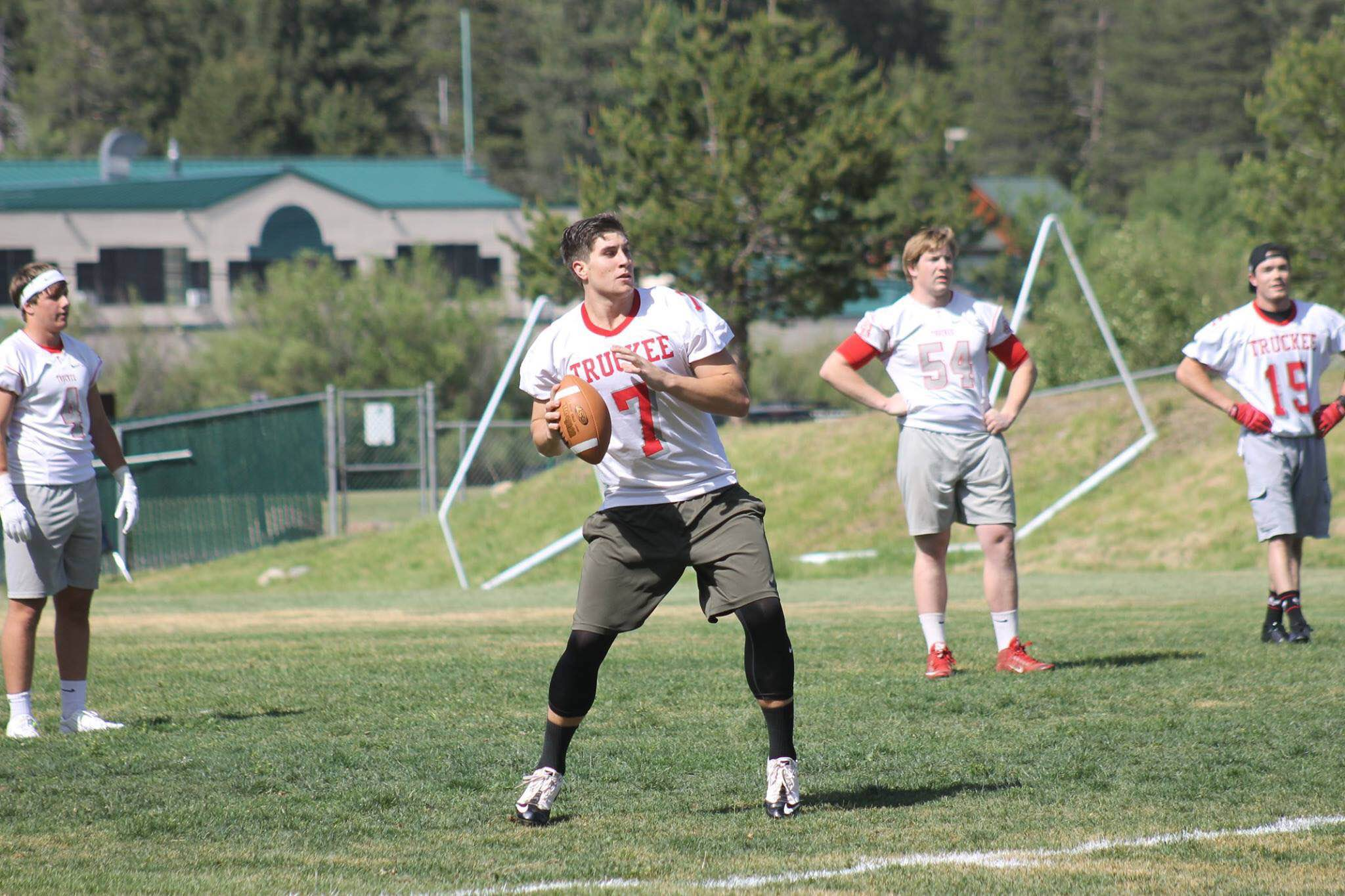 Ben Bolton is arguably the best QB to come through Truckee. He proved why in the Red vs White game. Number 15, Mitch Nelson, looks on in the background…one of Ben's favorite targets.